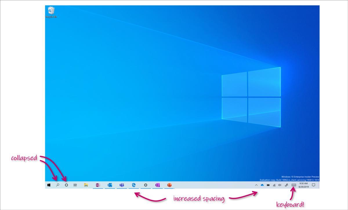 """""""태블릿과 데스크톱 UI 통합"""" 윈도우 10 인사이더 빌드 18970에 적용"""