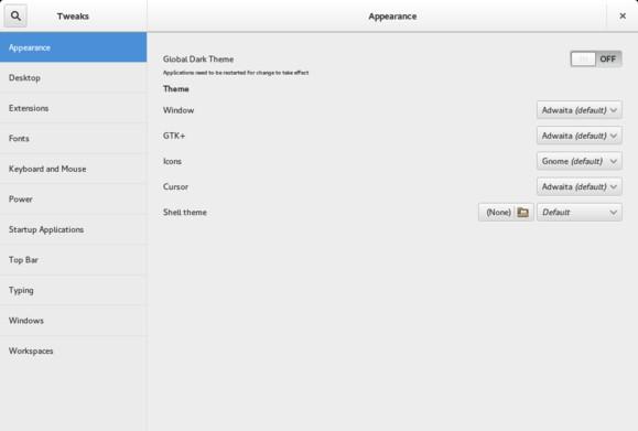 트윅툴을 통해 GNOME 사용자들은 시작 애플리케이션, 작업공간, 기타 기능들을 관리 조정할 수 있다