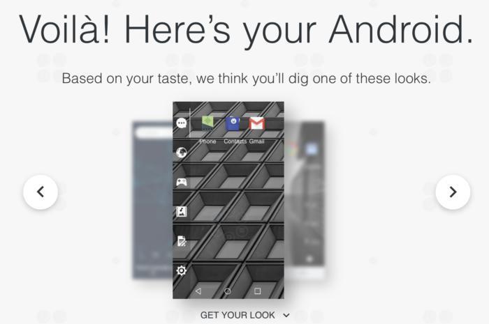 #myAndroid 사이트는 20가지 질문에 대답하고 나면 사용자에게 맞는 맞춤 화면을 제시한다