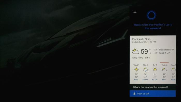 코타나로 엑스박스 원에서 날씨를 확인할 수 있다.