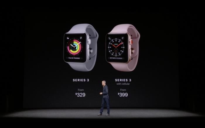 애플 워치 시리즈 3 LTE의 가격은 399달러부터 시작한다.