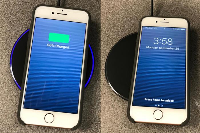 무선 충전 패드에 올려놓은 아이폰 8. 왼쪽은 충전이 정상적으로 이뤄지지만, 정가운데에 놓지 않으면 오른쪽처럼 충전이 되지 않는다.