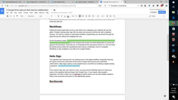 구글 문서의 협업 편집 기능.