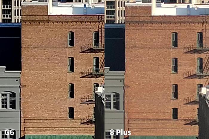 그러나 건물의 벽돌 조합을 보면 각 카메라가 압축과 노이즈 감소에 다르게 대처한다는 것을 알 수 있다. G6가 조금 더 깨끗하다.