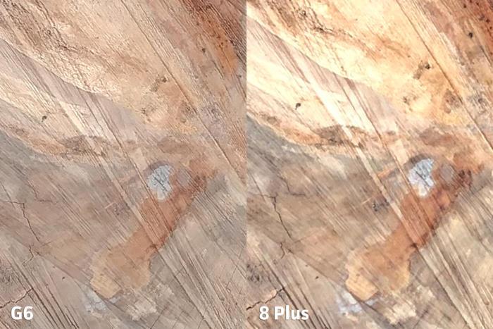 그러나 자세히 확대해 보면, G6가 이미지 표현과 세부 처리에 있어 월등히 우세하다.