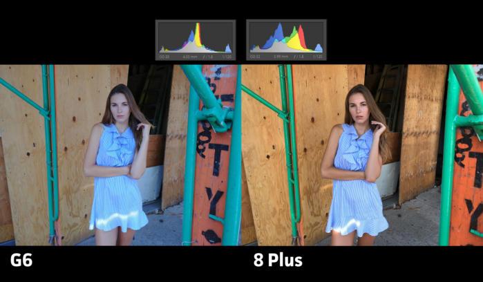 G6 사진이 조금 더 색바랜 느낌을 주지만, 노출은 명확했다.