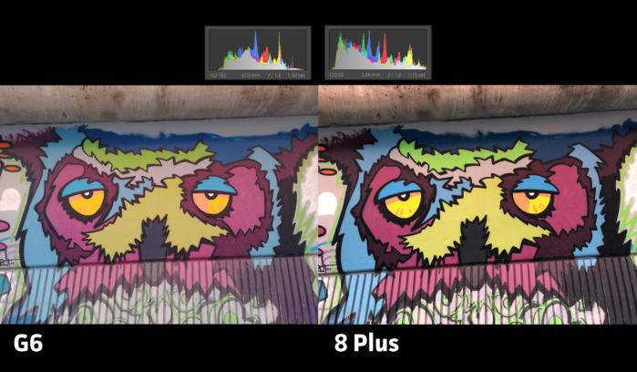 두 사진 모두 노출이 정확하고 각각의 장점이 있다. 아이폰은 발랄한 느낌이 드는 색 표현이 돋보인다.