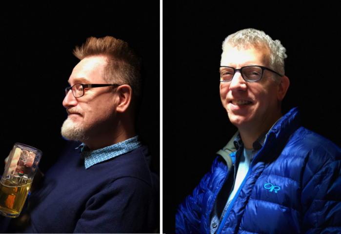 같은 장소에서 찍은 두 가지 인물 사진. 왼쪽은 날카롭고 세부 표현이 잘 돼 있고, 오른쪽은 디지털 줌을 적용해 뿌연 느낌이다.