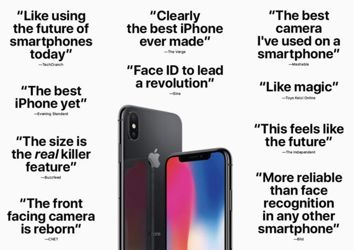 애플은 아이폰 X 리뷰에서 가장 눈에 띄는 문구를 강조했다.