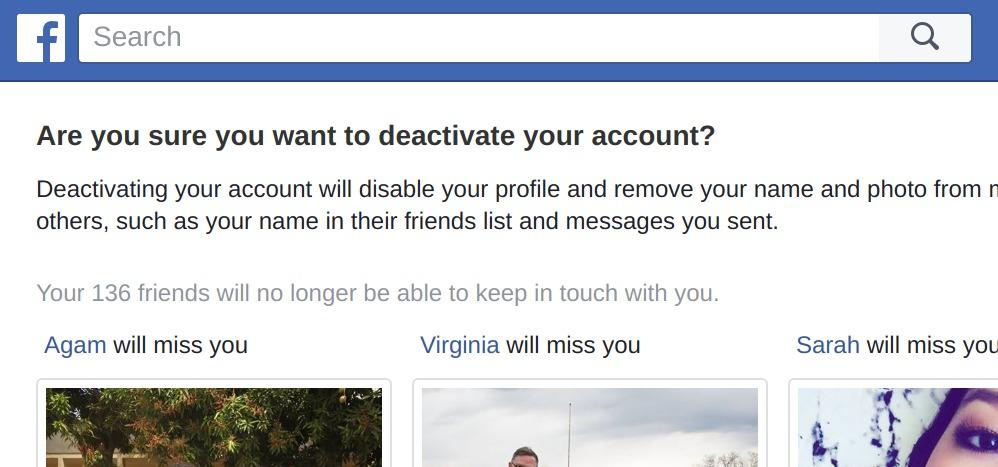 다른 페이스북 친구의 사진을 보여주기도 하고, 비활성화하는 이유를 물으면서 과정을 지연시킨다.