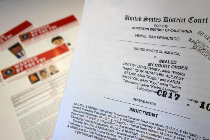 미 지방법원에 제출된 야후 해킹 범인 4명에 대한 FBI의 공소장