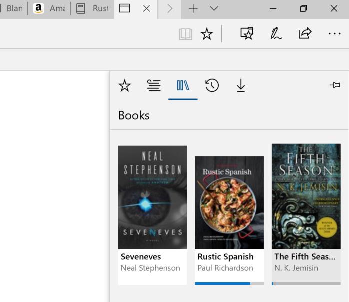 엣지의 새로운 '책(Books)' 세션으로 전자책 읽기 기능을 이용할 수 있다.