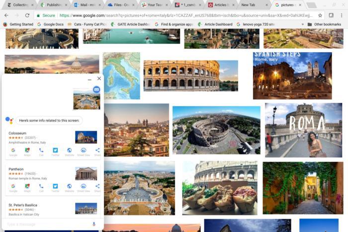 픽셀북 펜으로 구글 어시스턴트를 불러와 검색한 사진을 선택한 화면. 검색을 계속할 수록 결과가 더 정확해진다.