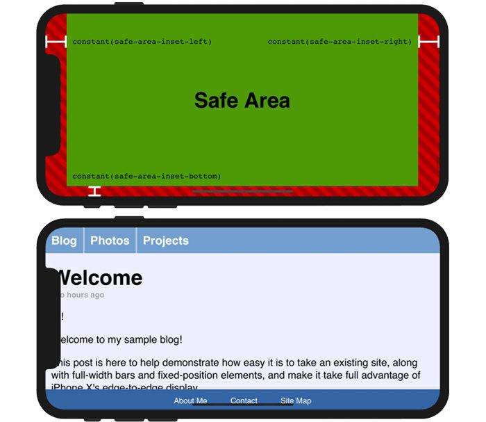 아이폰 X의 웹 콘텐츠 안전지대와 이를 무시했을 경우에 발생하는 현상