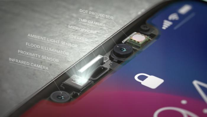 트루뎁스 시스템은 페이스 ID와 애니모티콘를 지원을 위한 카메라와 센서로 되어 있다.