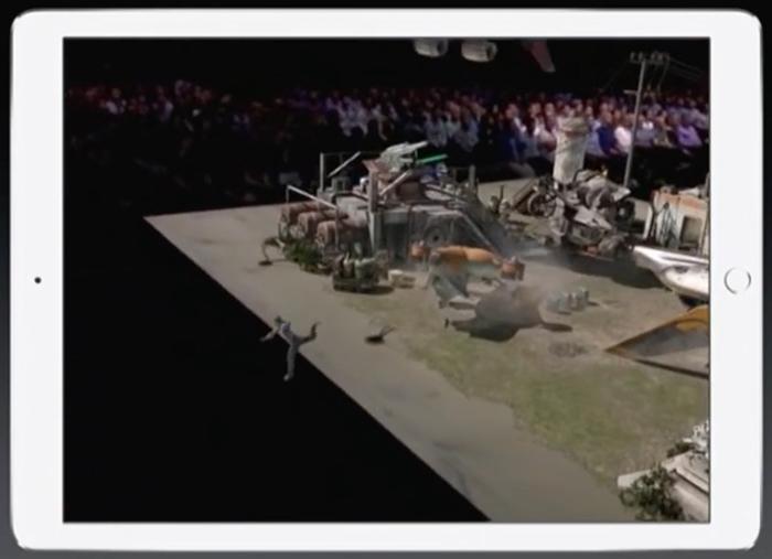 애플 'AR 키트'와 언리얼 엔진으로 개발한 '윙넛AR'의 한 장면