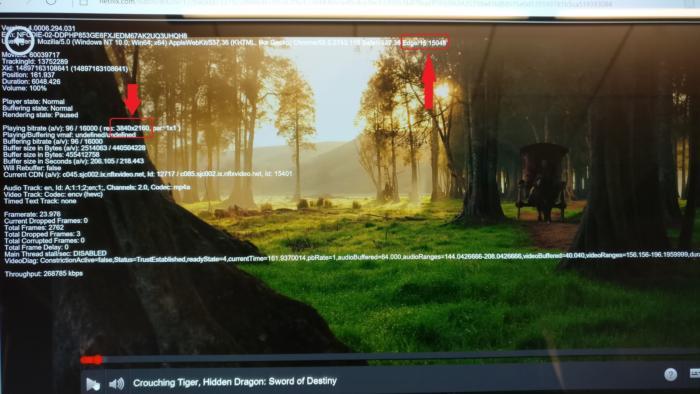 넷플릭스의 진단 도구를 사용해서 엣지가 4K 해상도로 스트리밍하고 있음을 확인했다.