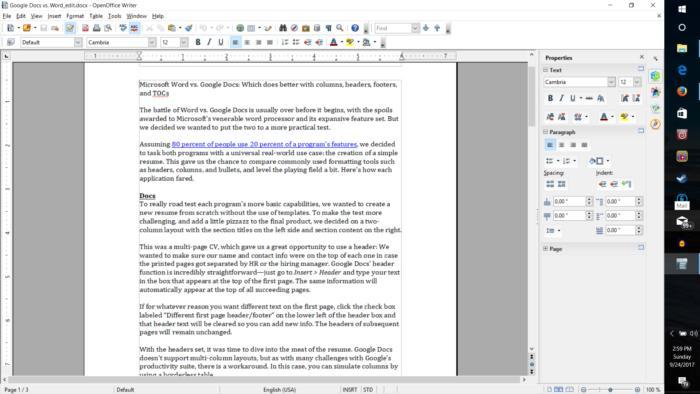 오픈 오피스는 마이크로소프트 오피스 문서 형식과 잘 호환되며, 3개의 앱에서 모두 PDF 출력을 지원한다.