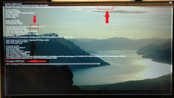 넷플릭스는 4K 수준의 처리량을 내보내지만, 오페라, 크롬, 파이어폭스는 720p로만 출력한다.