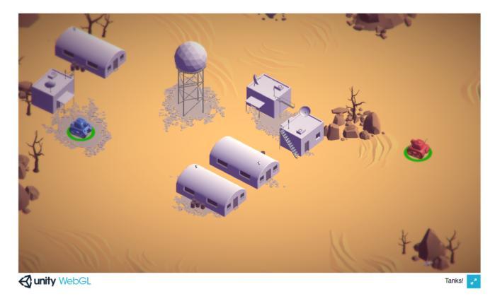 유니티 엔진 게임 탱크!는 웹어셈블리로 웹 브라우저에서 실행한다.