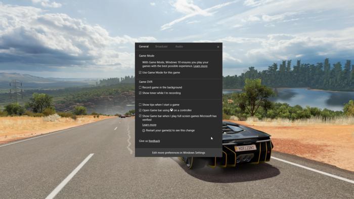 포르자 호라이즌 3를 윈도우 10 게임 모드로 구동하는 모습