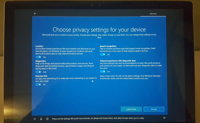 설치 과정에서 나타나는 윈도우 10 크리에이터 업데이트의 새로운 프라이버시 옵션