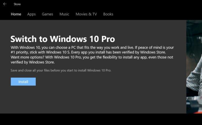 윈도우 10 S는 쉽게 윈도우 10 프로로 업그레이드할 수 있다.