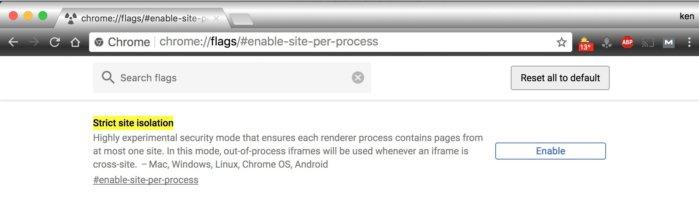 구글 크롬 버전 63의 사이트 격리 기능