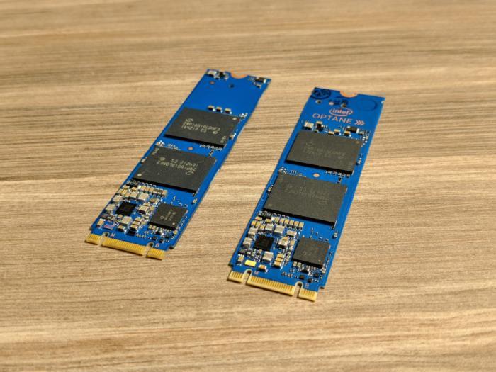 (좌) 인텔 800P SSD, (우) 인텔 옵테인 메모리 모듈