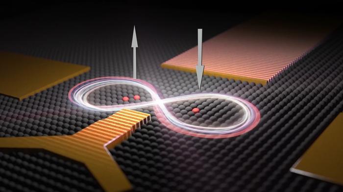 두 개의 인원자로 구성된 큐비트와 하나의 인원자로 구성된 큐비트를 묘사한 삽화. 두 개의 큐비트는 실리콘 칩에서 서로 16나노미터 간격으로 배치된다. UNSW 과학자들은 이 두 개의 큐비트 간 상호작용을 제어해서 전자의 양자 스핀이 상호 연계되도록 하는 데 성공했다. 한 전자의 스핀이 위를 향하면 다른 스핀은 아래를 향한다.