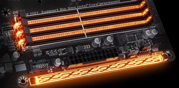 기가바이트 H370 마오러스 게이밍3의 RGB LED.