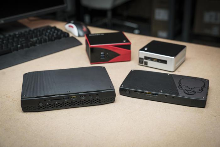 작은 게임용 PC가 흔해졌다. 왼쪽 위부터 기가바이트 브릭스 GB-BXA8-5557, 인텔 NUC5i7RYH, 인텔l NUC6i7KYK 스컬 캐년, 인텔 NUC8i7HVK 하데스 캐년.