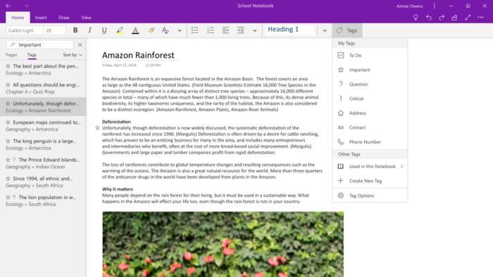 마이크로소프트는 조만간 태그 기능이 윈도우 10 원노트 앱에 추가될 것이라고 밝혔다.