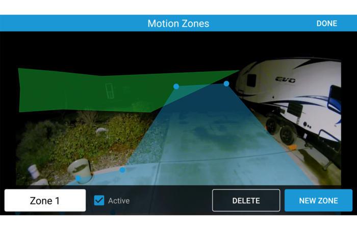 링 플러드라이트 캠(Ring Floodlight Cam)은 매우 유연하게 움직임 탐지 영역을 설정할 수 있다.