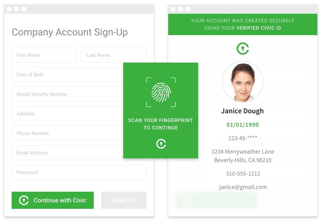 시빅은 사용자와 사용자의 ID 데이터를 사전 등록하고 암호화해 모바일 디바이스에서 지문으로 액세스할 수 있도록 패스코드를 발행한다.