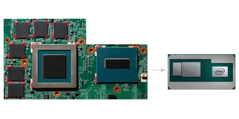 왼쪽은 전통적인 CPU, GPU, GDDR5 조립이고, 오른쪽은 CPU, GPU, HBM2 그래픽 메모리를 묶은 카비레이크 G이다.