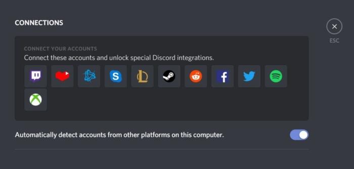 디스코드에서 연결할 수 있는 외부 서비스. 스팀 계정도 연결할 수 있다.