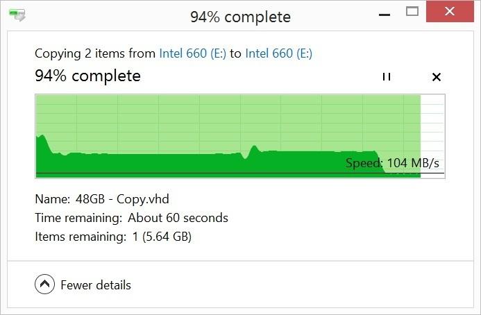 80GB를 복사했을 시점에 이런 속도 저하가 발생했다. 여유 공간이 적으면 속도 저하는 더 빨리 일어난다.