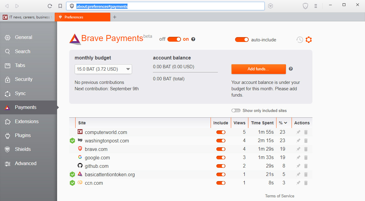 사용자가 사이트 이용 대가를 자체 암호화폐인 BAT로 지불할 수 있다.