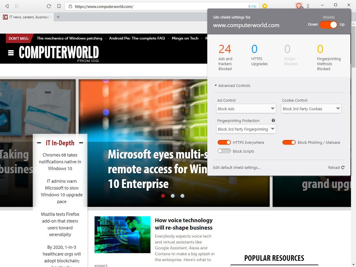브레이브는 한 사이트에서 얼마나 많은 광고가 차단됐지를 보여주며, 사용자가 프라이버시 기능을 제어할 수 있다.