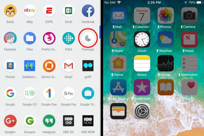 앱 타이머에 정해둔 제한 시간에 다다르면 안드로이드 앱 서랍 속 앱 아이콘이 흐려진다(왼쪽, 붉은색 동그라미). 애플은 아이콘을 흐리게 함과 동시에 모래시계가 표시된다.