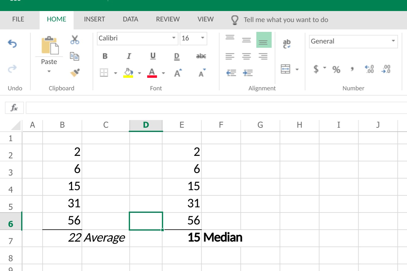 평균과 중앙값을 혼동하는 경우가 많다. 그러나 이 예제에서 알 수 있듯, 평균은 숫자들의 합계를 숫자들의 양(수)으로 나눈 값이다. 반면 중앙값은 합계와 상관없이 숫자 열의 중간 지점을 가리킨다.