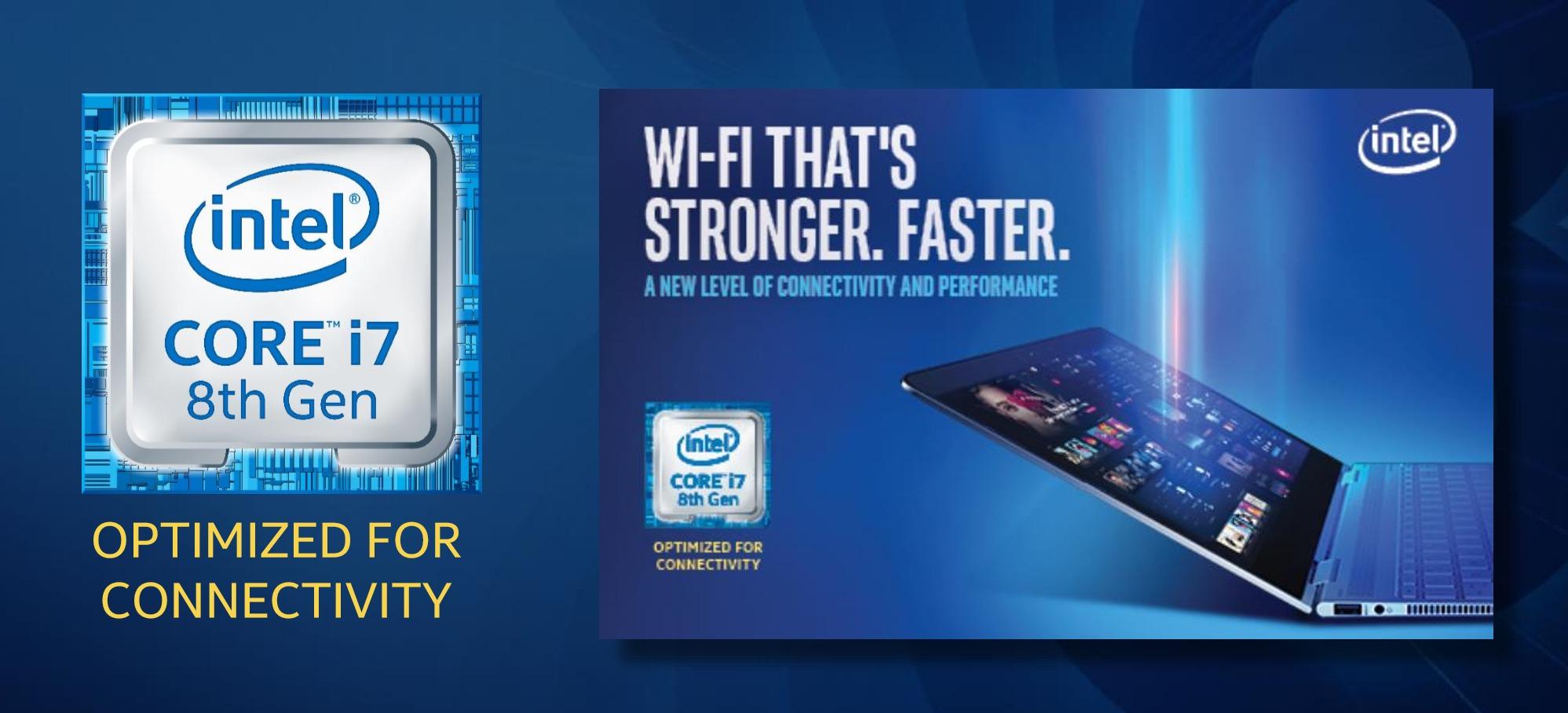 로고와 함께 나타나는 문구에서 알 수 있듯이 인텔의 신형 8세대 코어 칩은 연결성을 강조할 것이다.