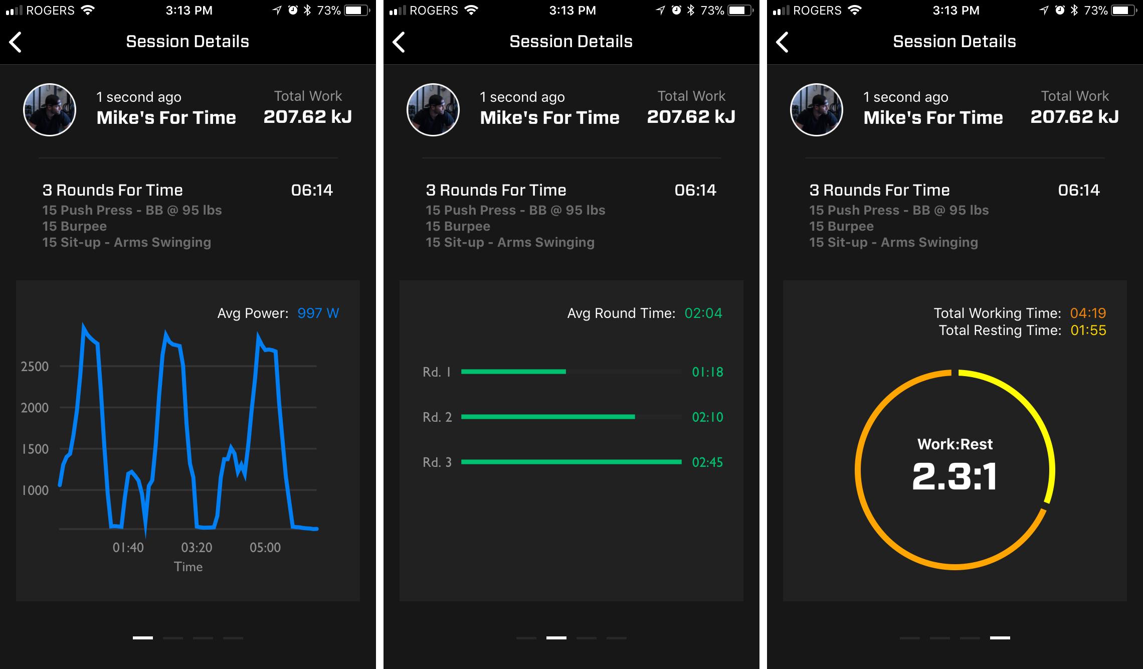 넥서스 앱에는 운동 역량, 운동:휴식 비율을 확인할 수 있다.