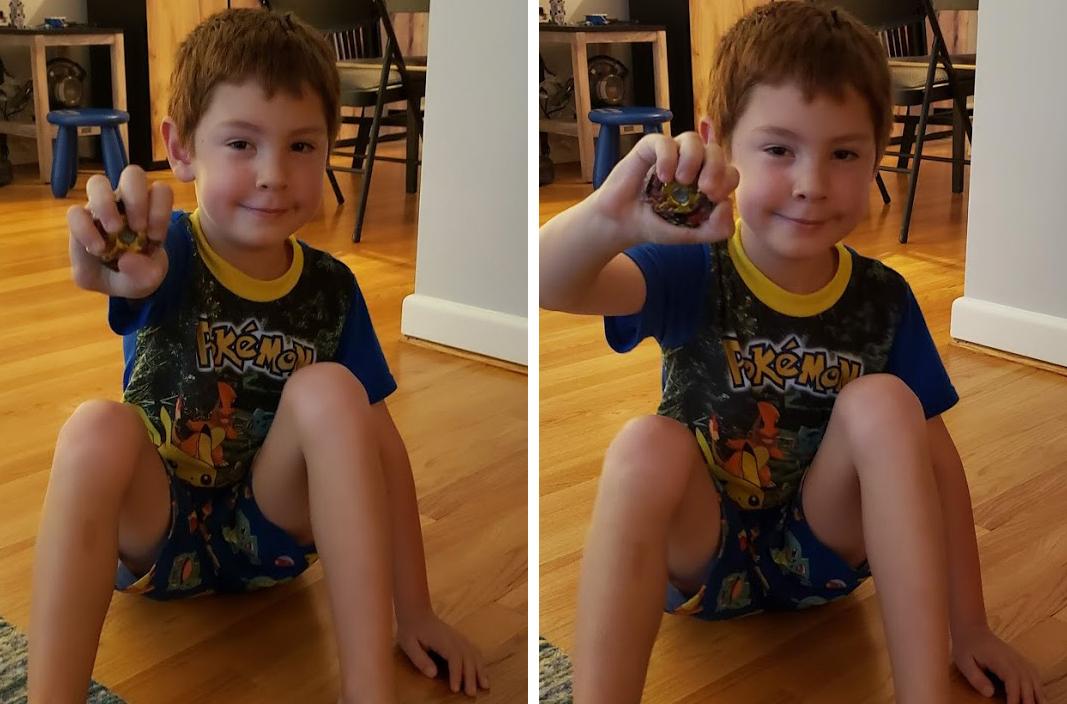 갤럭시 노트9의 장면 최적화 모드(왼쪽)과 자동 모드(오른쪽)는 모두 유사한 결과를 내놨다. 하지만 장면 최적화가 필자 아들의 특유의 얼굴 특징을 더 잘 표현하는 것 같다. (클릭해서 원본확인 가능)
