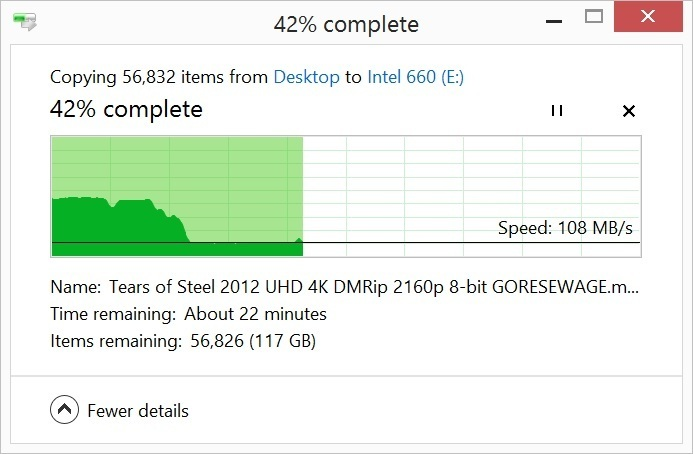 캐시가 떨어지자 하드시크보다 약간 빠른 쓰기 속도를 보였다. 450MBps로 제한되는 SATA SSD 가까이도 가지 못했다. 자주 발생하는 일은 없지만, 고려사항임은 분명하다.