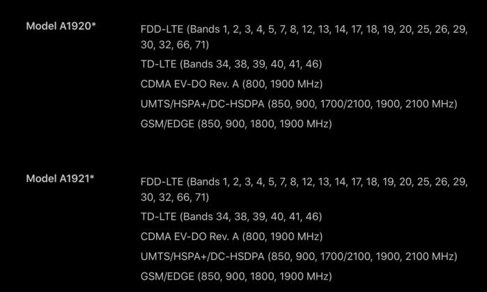 애플의 아이폰 XS 사양 페이지 목록에는 2종의 모델로 나눠진 것을 볼 수 있다. 매우 혼란스럽다.