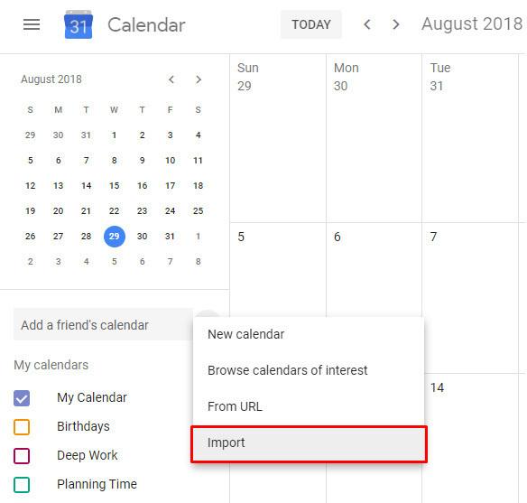 구글에서 아웃룩 캘린더 이벤트를 보고 싶다면 해당 데이터를 가져오기 하면 된다.