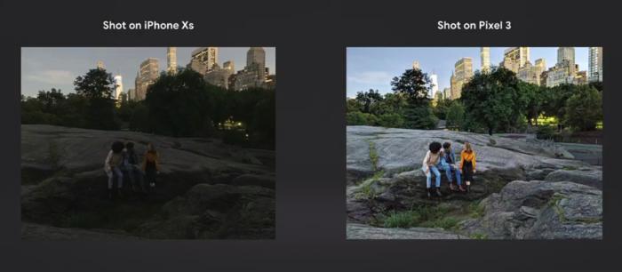 구글은 카메라를 강조하기 위해 아이폰 XS와 직접 비교하는 전략을 택했다.