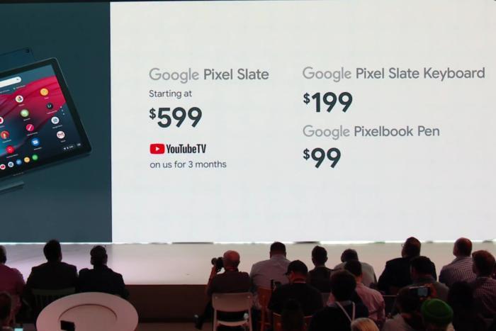 구글 픽셀 슬레이트에는 유튜브 TV 3개월 무료 구독권이 포함된다. 액세서리 가격은 이미지에 적혀진 대로다.